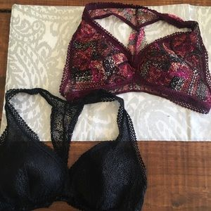 Lot of 2 VS lace bralettes- size Large
